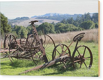 Old Farm Equipment . 7d9744 Wood Print by Wingsdomain Art and Photography