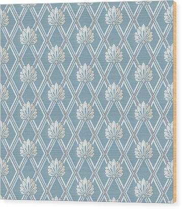 Wood Print featuring the digital art Old Fashioned Blue Lattice Fan Wallpaper Pattern by Tracie Kaska