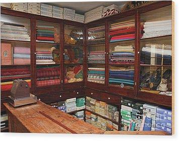 Old-fashioned Fabric Shop Wood Print by Gaspar Avila