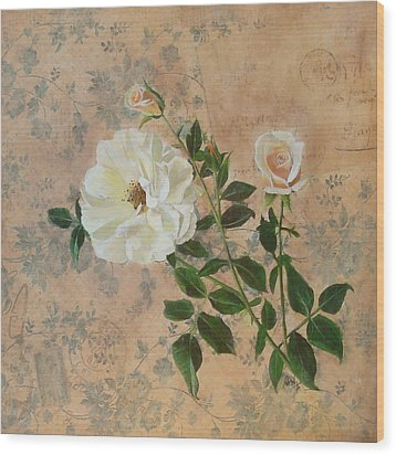 Old Fashioned Rose Wood Print by Carrie Jackson