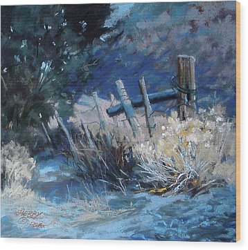 Old Fence Wood Print by Mary Ann Cherry