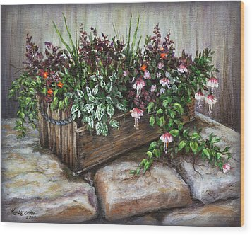Wood Print featuring the painting Old Flower Box by Kim Lockman