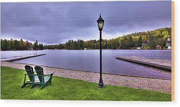 Old Forge Waterfront Wood Print by David Patterson