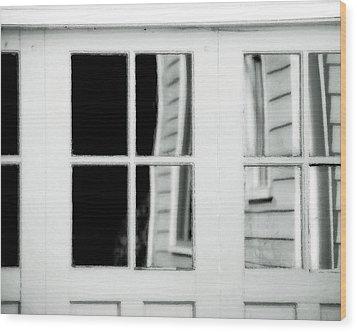 Old Garage Door Wood Print by Bonnie Bruno