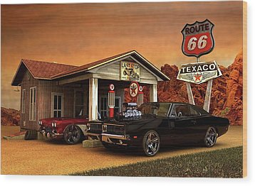 Wood Print featuring the photograph Old Gas Station American Muscle by Louis Ferreira
