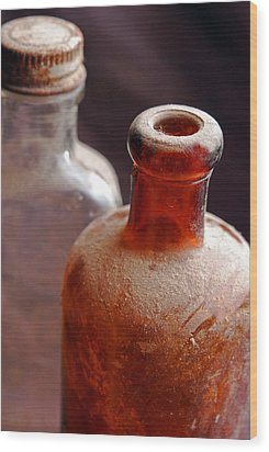 Old Glass Bottles Wood Print