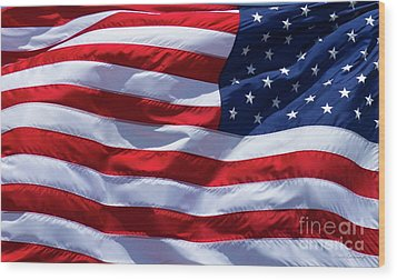 Wood Print featuring the photograph Stitches Old Glory American Flag Art by Reid Callaway
