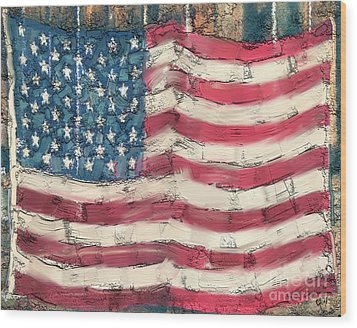Wood Print featuring the painting Old Glory by Carrie Joy Byrnes