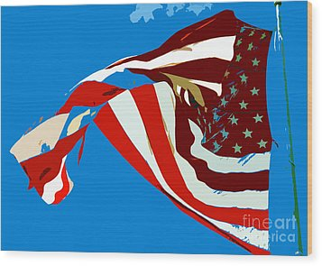 Old Glory Flying Wood Print by David Lee Thompson