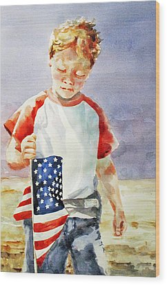Old Glory Forever Young Wood Print