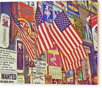 Wood Print featuring the photograph Old Glory by Joan Reese