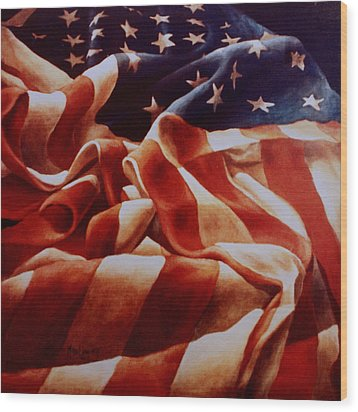 Old Glory Wood Print by Michael Lang