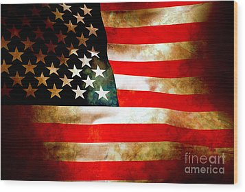 Old Glory Patriot Flag Wood Print by Phill Petrovic