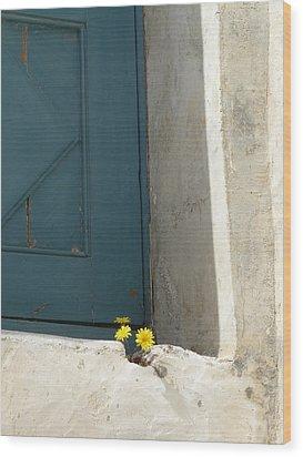 Old Greek Door Wood Print by Valerie Ornstein