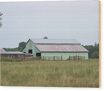 Old Green Barn    Washington State Wood Print by Laurie Kidd