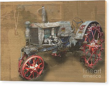 Old Grey Tractor Wood Print