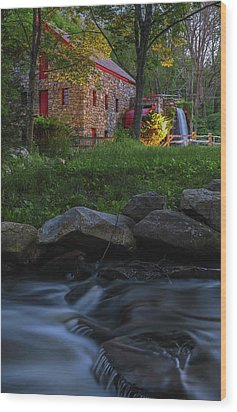 Wood Print featuring the photograph Old Grist Mill At Wayside Inn Historic District by Juergen Roth