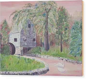Old Grist Mill Wood Print by Suzanne  Marie Leclair