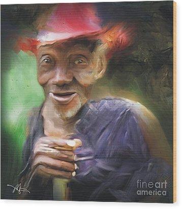 Old Haitian Field Worker Wood Print by Bob Salo