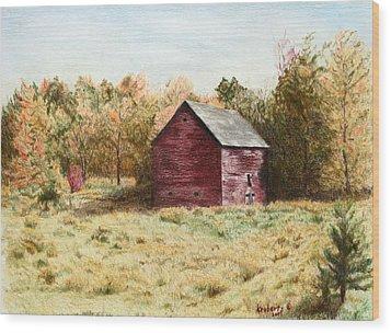 Old Homestead Barn Wood Print by Kathy Roberts
