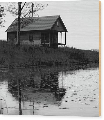 Wood Print featuring the photograph Old Homestead Reflections - Black And White by Gregory Ballos