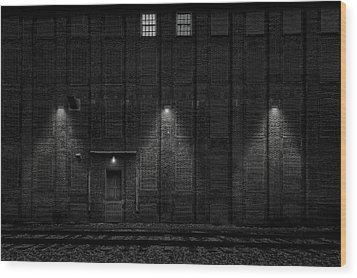 Wood Print featuring the photograph Old Ideal Cocoa And Chocolate Factory Building  -  Wilburbldgdaytonightblkwhi172947 by Frank J Benz