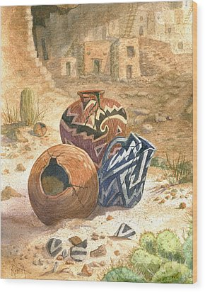 Wood Print featuring the painting Old Indian Pottery by Marilyn Smith