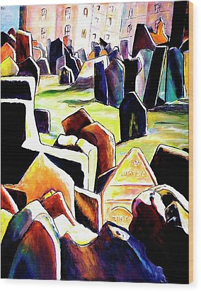 Old Jewish Cemetary In Prague Wood Print by Miki  Sion