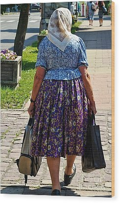 Wood Print featuring the photograph Old Lady Off To Work by Mariola Bitner