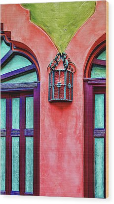 Wood Print featuring the photograph Old Lamp Between Windows by Gary Slawsky