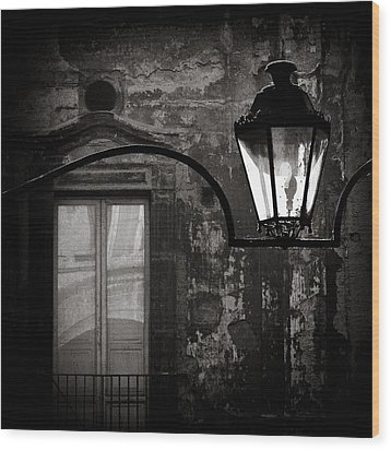 Old Lamp Wood Print by Dave Bowman