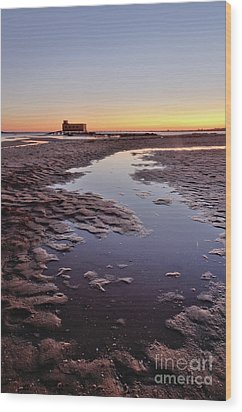 Old Lifesavers Building At Twilight Wood Print by Angelo DeVal