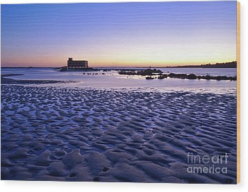 Old Lifesavers Building Covered By Twilights Blue Light Wood Print by Angelo DeVal