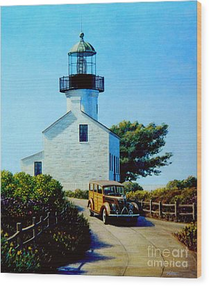 Old Lighthouse Point Loma Wood Print by Frank Dalton