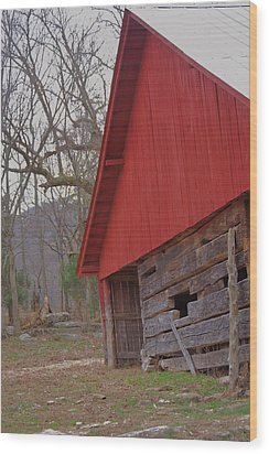 Wood Print featuring the photograph Old Log Barn by Debbie Karnes