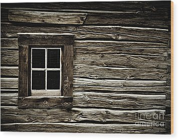 Wood Print featuring the photograph Old Log Cabin by Brad Allen Fine Art