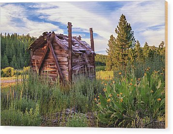 Old Lumber Mill Cabin Wood Print
