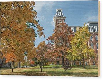 Old Main At The University Of Arkansas During Fall Wood Print