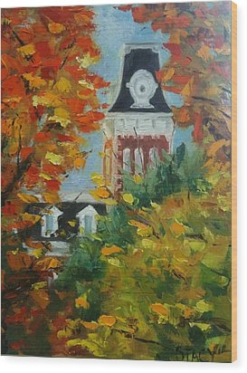 Old Main Wood Print by Stacy Spangler