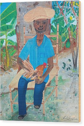 Wood Print featuring the painting Old Man And His Rooster by Nicole Jean-louis