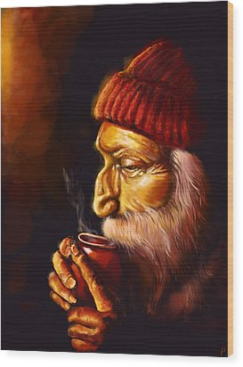 Old Man And Tea Wood Print by Patricia C Bernhard