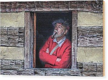 Old Man In Window Wood Print by Randy Steele