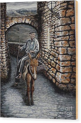 Old Man On A Donkey Wood Print