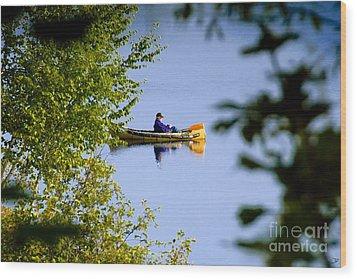 Old Man On The Lake Wood Print by David Lee Thompson