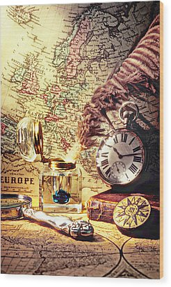 Old Maps And Ink Well Wood Print by Garry Gay