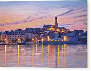 Old Mediterranean Town Of Betina Sunset View Wood Print by Brch Photography
