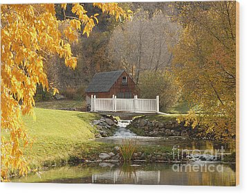 Old Mill In Autumn Wood Print by Dennis Hammer