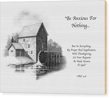 Old Mill In Pencil With Bible Verse Wood Print by Joyce Geleynse