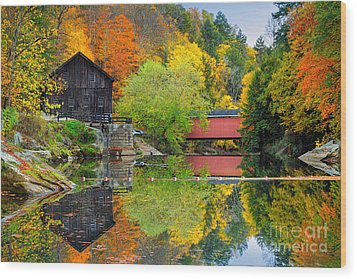 Old Mill In The Fall  Wood Print by Emmanuel Panagiotakis