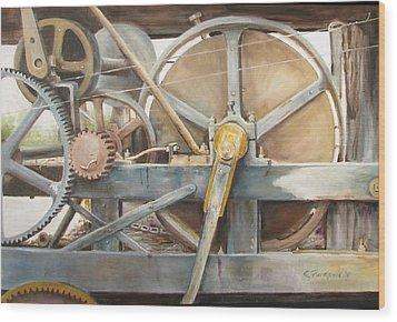 Old Mine Engine Wood Print